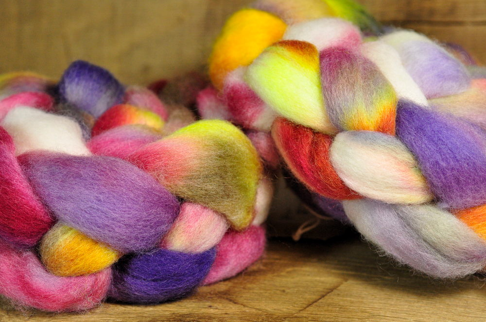 200g Hand Dyed Corriedale Wool Top for Spinning of Felting - 'Faded Paeonies', Two Coordinating Braids