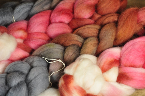 Hand Dyed Corriedale Wool Top for Spinning or Felting - 'Jupiter Gradient'