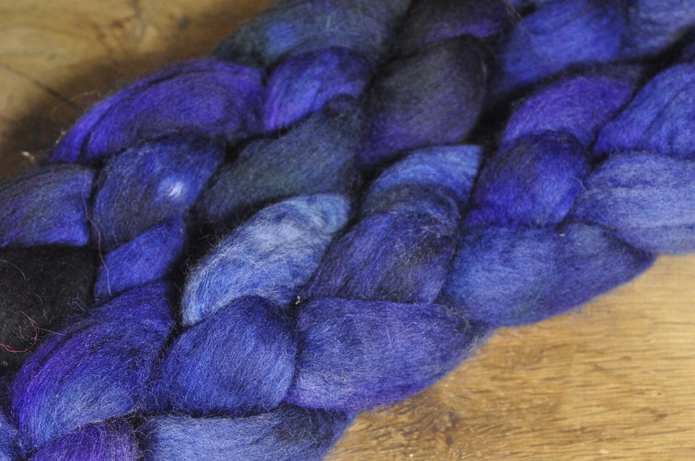Hand Dyed Corriedale Wool Top - 'Midnight'