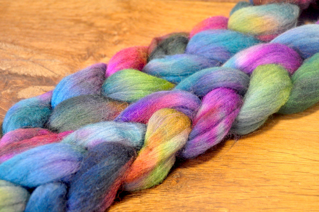 Hand Dyed Corriedale Wool Top for Spinning or Felting - 'Petrol'''