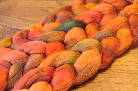 Hand Dyed Corriedale Wool Top for Spinning or Felting - 'Pheasant'