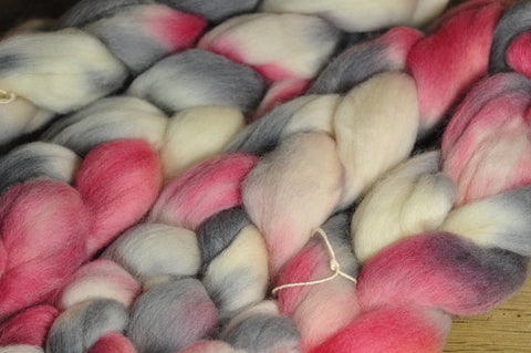 Hand Dyed Corriedale Wool Top for Spinning or Felting - 'Colour 'Pink Granite''