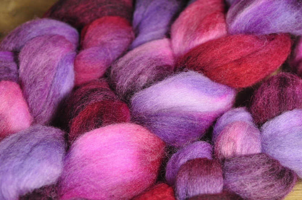 Hand Dyed Corriedale Wool Top - 'Plum'
