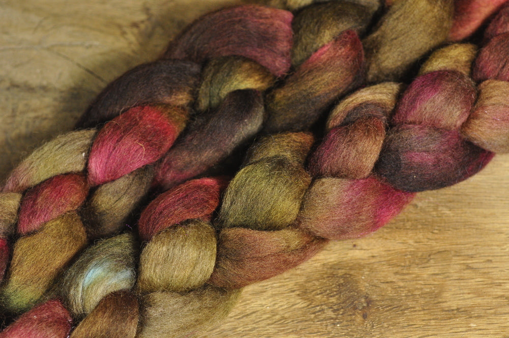 Hand Dyed Corriedale Wool Top - 'Tangled Roots'