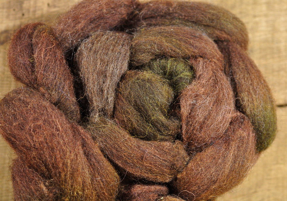 Corriedale Wool Top - 'Woodland Grass'