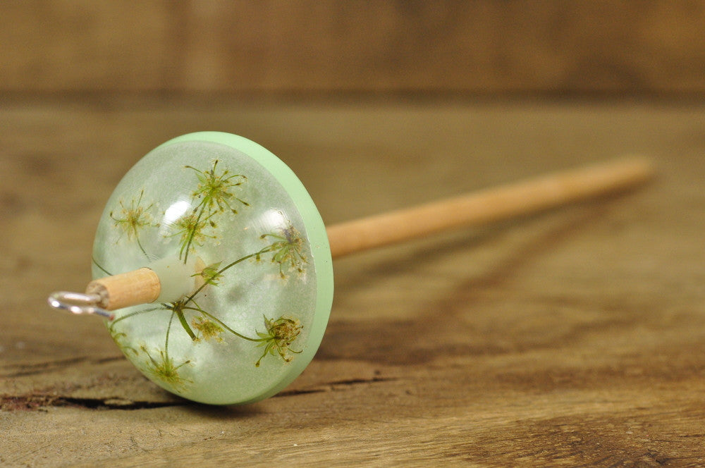 Resin Drop Spindle - Cow Parsley