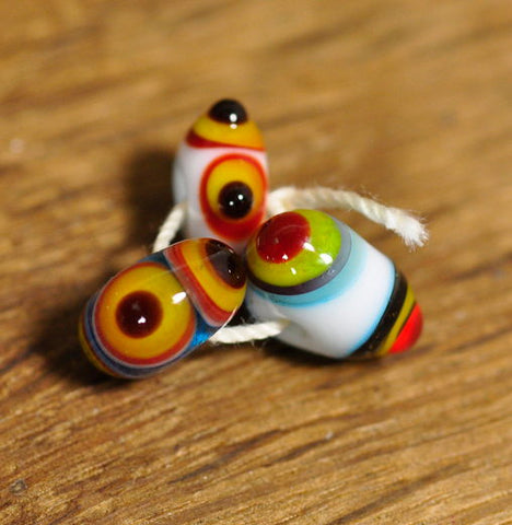 Handmade Lampwork Glass Beads - Trio of Dotty Designs