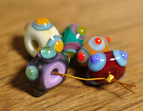 Handmade Lampwork Glass Beads - Set of Dotty Designs