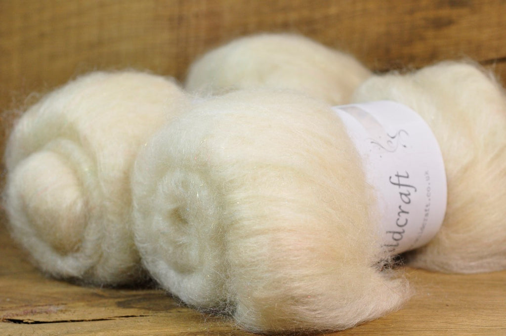 Carded Wool/Luxury Fibre Batt 50g - 'Double Cream'