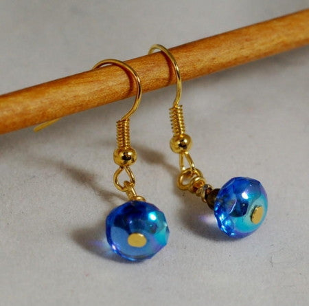 Handmade Earrings - Blue Glass