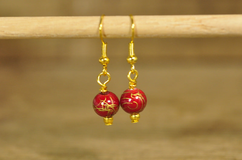 SALE! Handmade Earrings - Red/Gold Beads