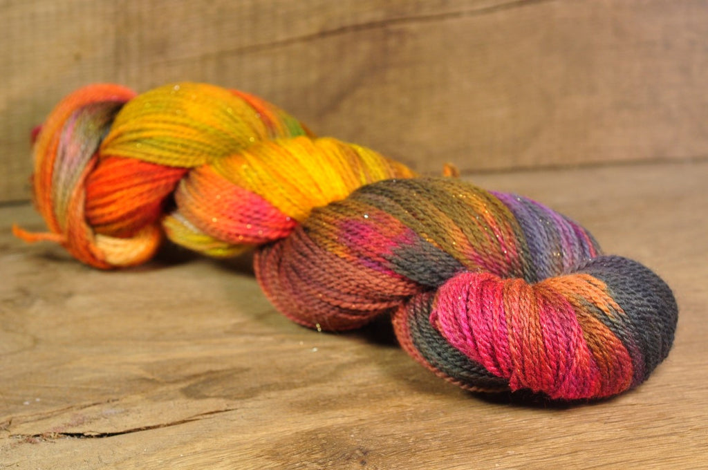 "Hand Dyed Merino Sparkle 4ply Yarn (Elgin 4ply) - ""Autumn Riches"""