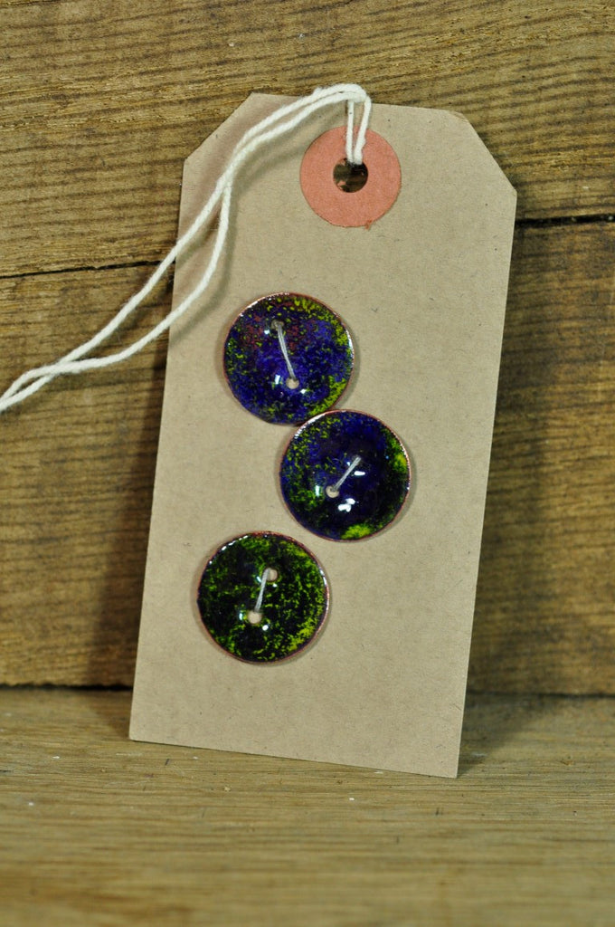 Handmade Enamelled Copper Buttons - Navy and Yellow 19mm