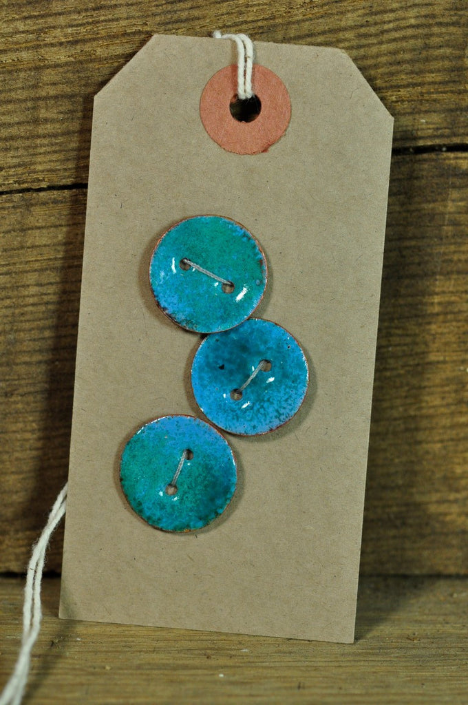 Handmade Enamelled Copper Buttons - Teal and Blue 19mm