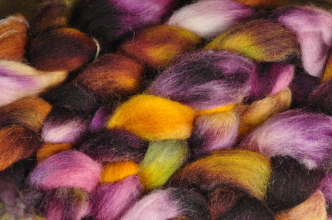 Hand Dyed English Wool Blend Top for Spinning or Felting, - 'Aubergine'
