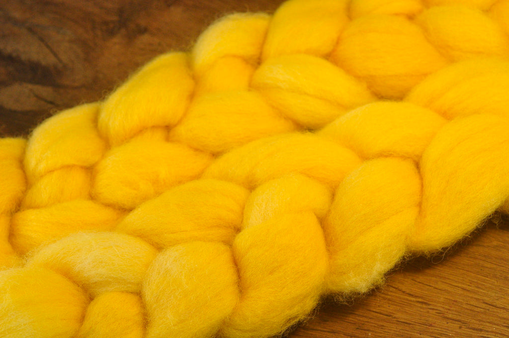 Hand Dyed English Wool Blend Top for Spinning or Felting, - 'Butter'