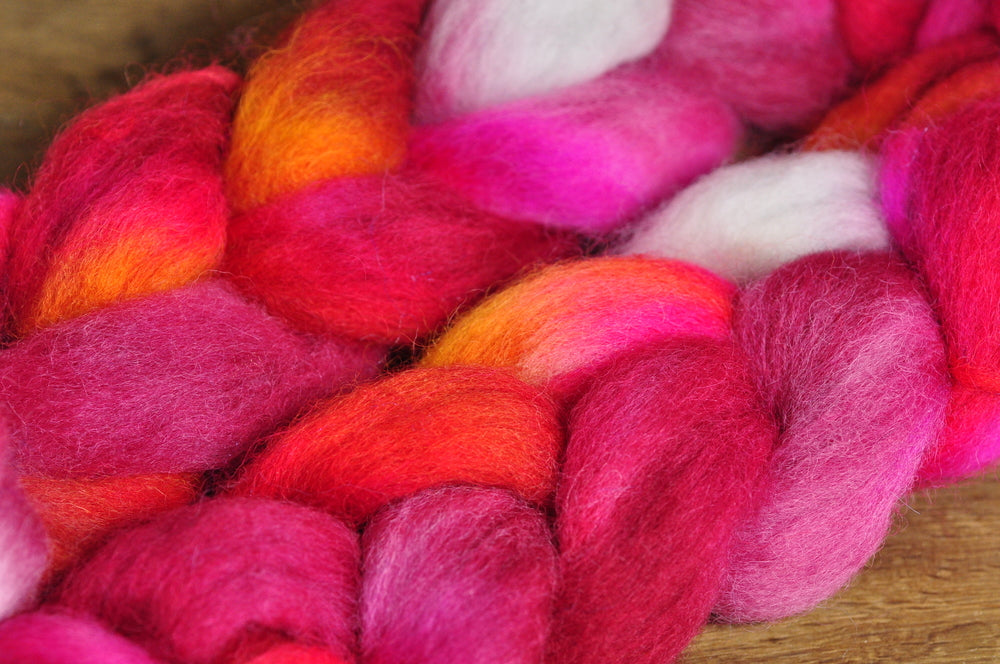 Hand Dyed English Wool Blend Top for Spinning or Felting, - 'Cherry Pie'