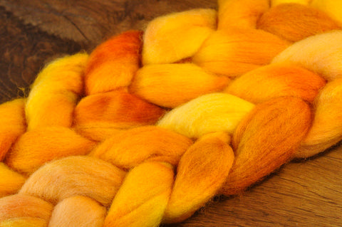Hand Dyed English Wool Blend Top for Spinning or Felting, - 'Cinder Toffee'