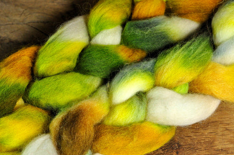 Hand Dyed English Wool Blend Top for Spinning or Felting, - 'Fairy Glen'
