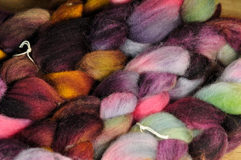 Hand Dyed English Wool Blend Top for Spinning or Felting, - 'Favourite Socks'