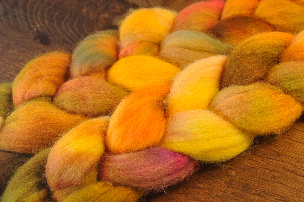 Hand Dyed English Wool Blend Top for Spinning or Felting, - 'Gourd'