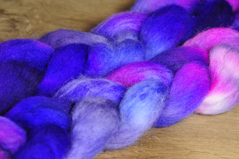 Hand Dyed English Wool Blend Top for Spinning or Felting, - 'Iolite'