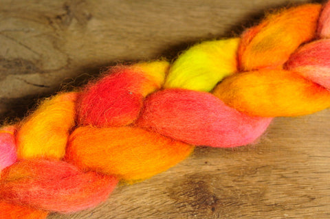 Hand Dyed English Wool Blend Top for Spinning or Felting, - 'Mango'