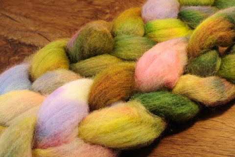 Hand Dyed English Wool Blend Top for Spinning or Felting, - 'Mossy Flowers'