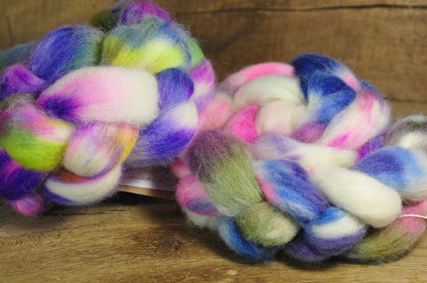 200g Hand Dyed English Wool Blend Top for Spinning or Felting, - 'Petits Fleurs', Two Coordinating Braids
