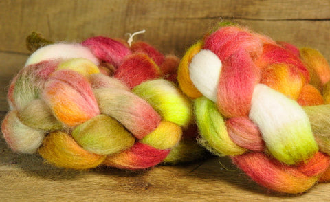 200g Hand Dyed English Wool Blend Top for Spinning or Felting, - 'Russet', Two Coordinating Braids
