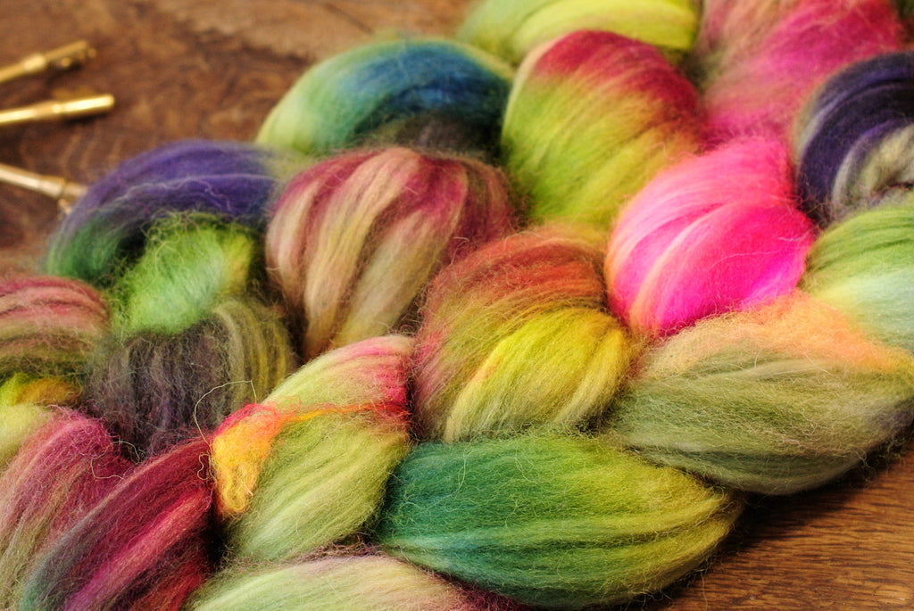 Hand Dyed Superwash English Wool with Nylon Blend Top for Spinning, - 'Hedgerows Flowers'