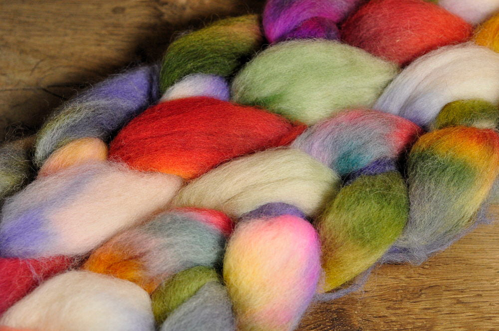 Hand Dyed English Wool Blend Top for Spinning or Felting, - 'Spring Mix