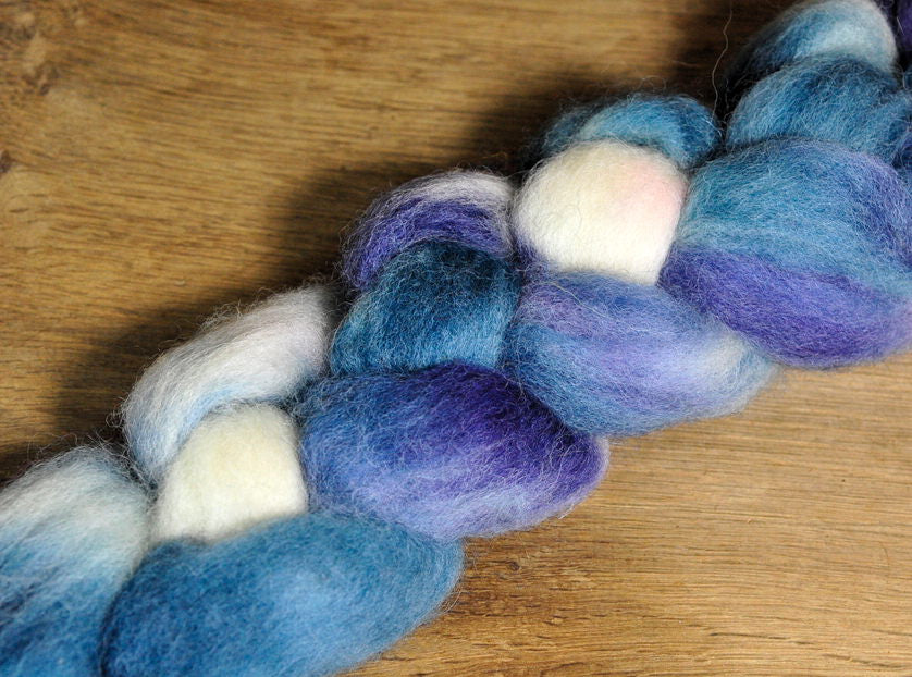 Hand Dyed English Wool Blend Top for Spinning or Felting, - 'Twilight'