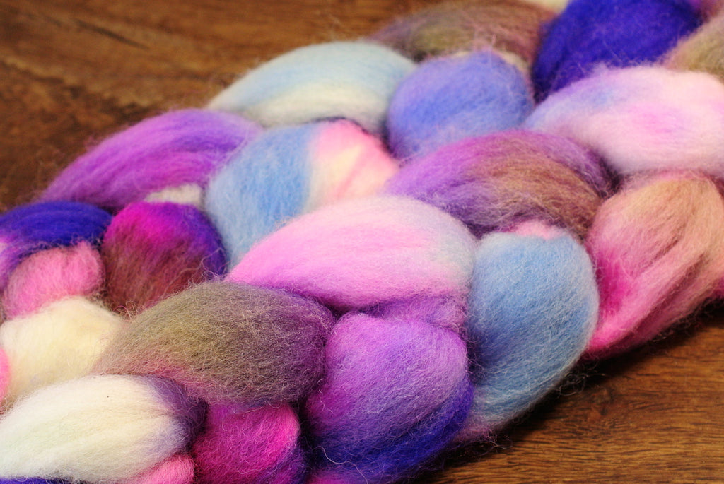 Hand Dyed English Wool Blend Top for Spinning or Felting, - 'Wild Orchids'