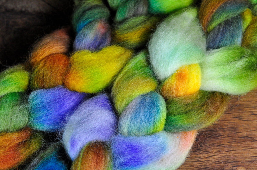 Hand Dyed English Wool Blend Top for Spinning or Felting, - 'Woodland Stroll'