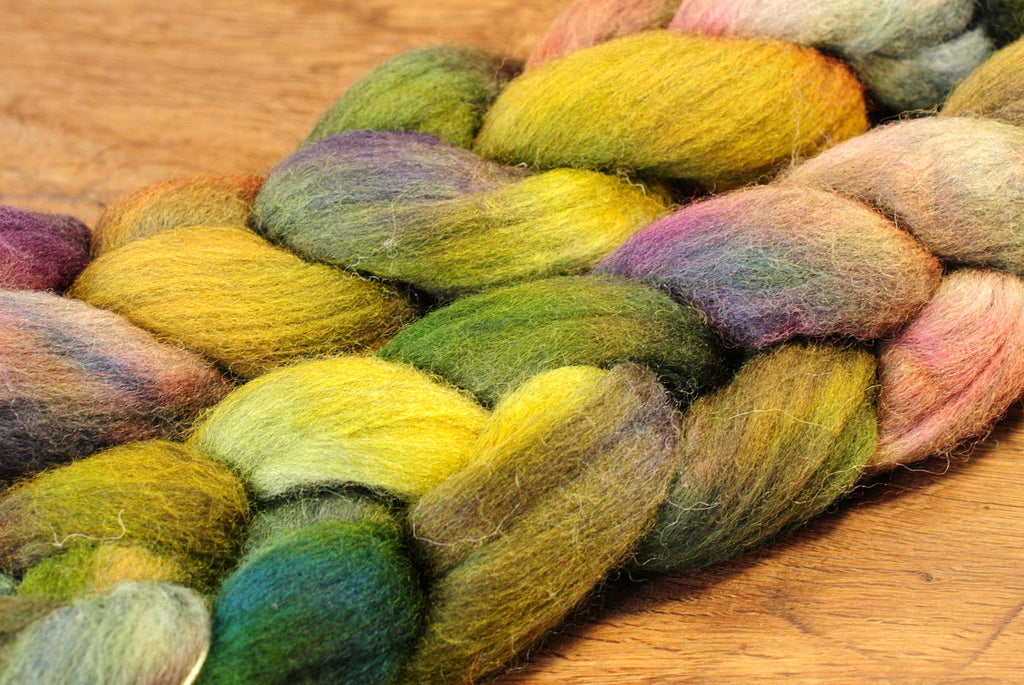 100g Hand Dyed Merino Wool Top for Handspinning or Felting - 'Forest Shades'