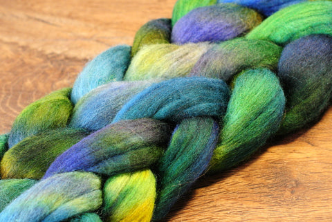 100g Hand Dyed Merino Wool Top for Handspinning or Felting - 'Jade Shades'