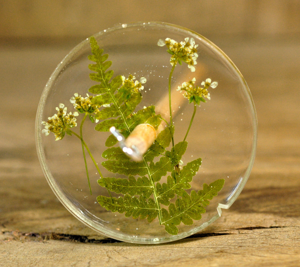 Top Whorl Resin Drop Spindle - Fern Frond and Cow Parsley
