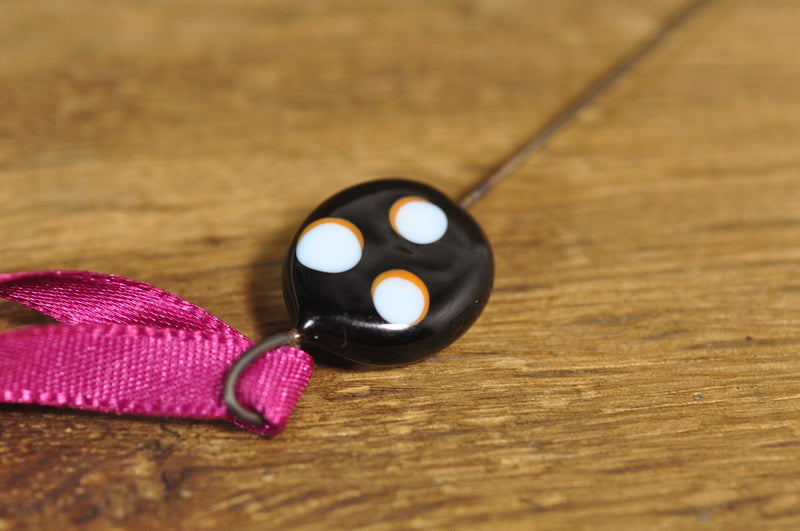 SALE! Spinner's Fetch Hook (Orifice hook), Lampwork Glass: Black / Blue Dots