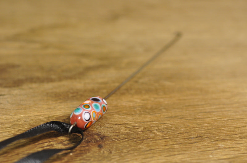 SALE! Spinner's Fetch Hook (Orifice hook), Lampwork Glass: Coral Dots