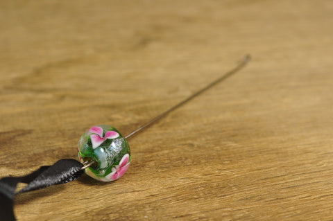 Spinner's Fetch Hook (Orifice hook), Lampwork Glass: Green with Pink Flowers