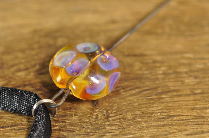 Spinner's Fetch Hook (Orifice hook), Lampwork Glass: Pearl Dots on Amber