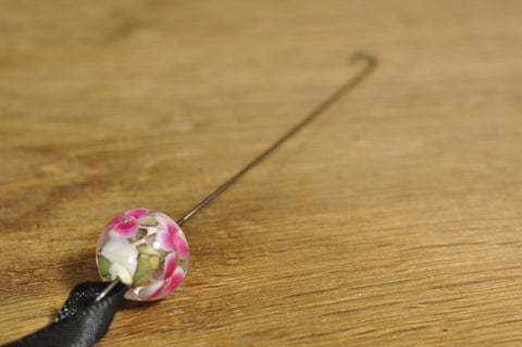 Spinner's Fetch Hook (Orifice hook), Lampwork Glass: Pink with Ivory Flowers