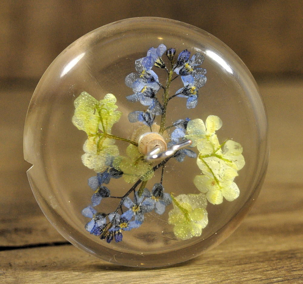 Resin Drop Spindle - Forget Me Not and Guelder Rose