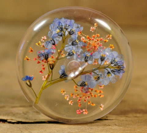 SECONDS Resin Drop Spindle - Forget-me-not and Pink Lace Flower