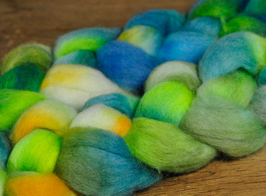 Hand Dyed Corriedale Wool Top - 'Frog'
