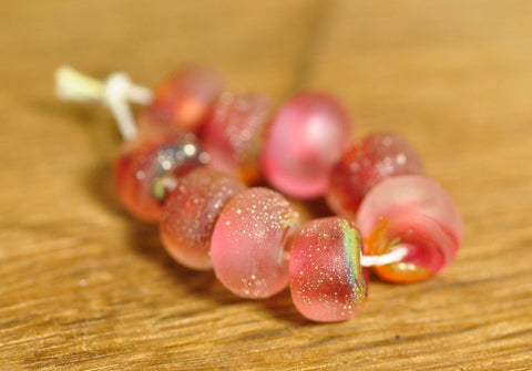 Handmade Lampwork Glass Bead Set - 'Frosted Pomegranates'