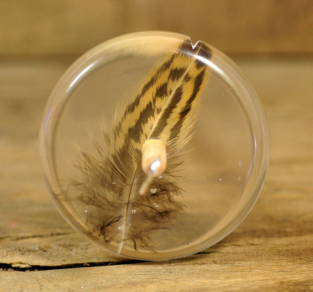 Plying Style Resin Drop Spindle - Hen Feather (2)