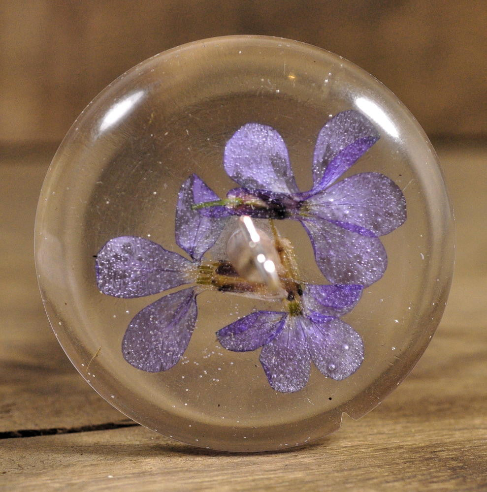 Resin Drop Spindle - Honesty Flowers