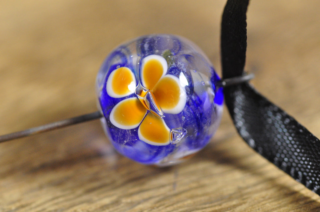 Spinner's Fetch Hook (Orifice hook) Cobalt with Amber Flowers